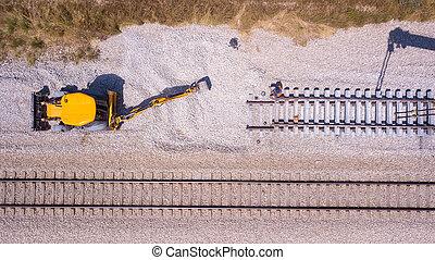 chemin fer, track., rail, railway., cassé, réparation, pistes, process., ouvriers, entretien