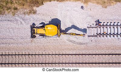 chemin fer, track., railway., cassé, réparation, ouvriers