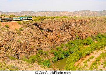 chemin fer, train, désert