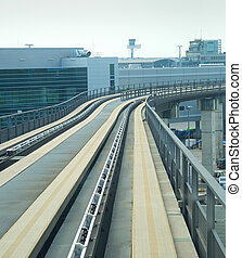 chemin fer, transit, moderne, train, aéroport
