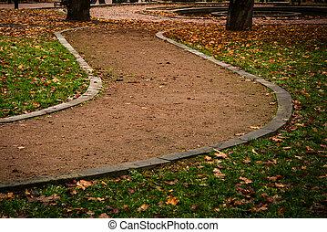 chemin, parc, automne