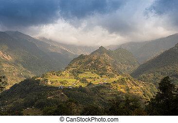 chemin pierre, dans montagnes