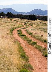 chemin terre, montagne, scène