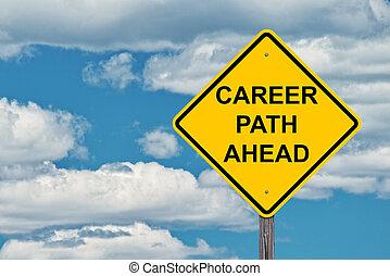 cheminement de carrière, avertissement, devant, signe