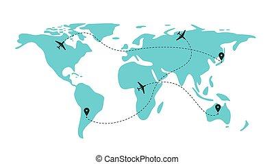 chemins, -, bleu, mondiale, travers, vol, carte, avion, avion, plan, aller, voyage, ligne
