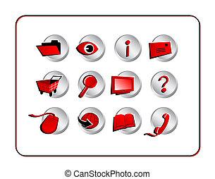 chemins, coupure, ensemble, -, rouges, icône