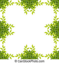 chemins, coupure, feuille, isolé, arrière-plan., vert, included., blanc, frontière