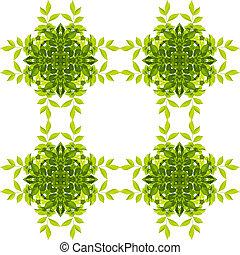 chemins, coupure, modèle feuille, isolé, arrière-plan., vert, included., blanc