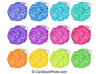 chemins, différent, couleurs, bouffées, douze, personnel, isolé, bain, hygiène, fond, produits, coupure, included, blanc, doux