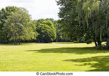 chemins, marche, column., tiergarten, famille, &, aménagements, herbe, arbres, parc, champ, inclure, berlin., plus grand, plus vieux, vue, victoire
