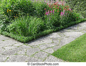 chemins, pierre, ensoleillé, jardin