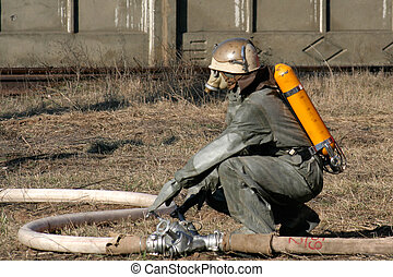 chemisch, brandbestrijders, bescherming, kostuum