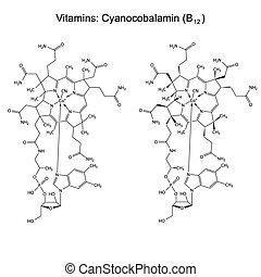 chemisch, formule, b12, vitamine