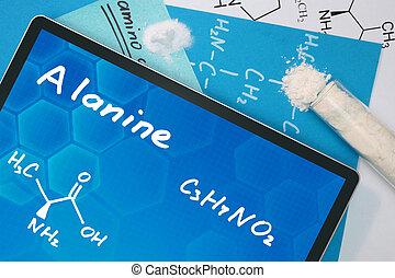 chemisch, formule, van, alanine.