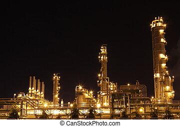 chemisch, industriebedrijven, scène, nacht