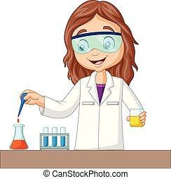 chemisch, meisje, experiment, spotprent