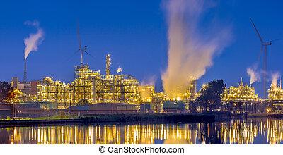 chemisch, panorama, industriebedrijven