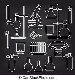 chemisch, set, chalkboard, laboratorium, iconen