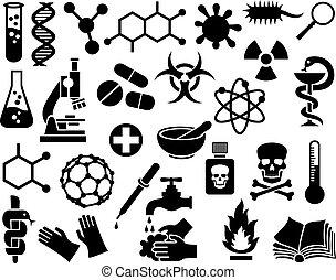 chemisch, set, iconen