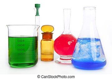 chemisch, uitrusting, laboratorium, apotheker, onderzoek