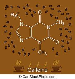 chemische , formel, koffein