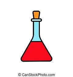 chemische , glas, drogen, medizin, dreieckig, abbildung, vorbereitung, einfache , vektor, hintergrund., flasche, experimente, weißes, laboratorium, ikone