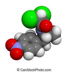 chemische , structure., antibiotikum, chloramphenicol, droge