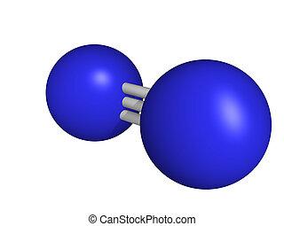 chemische , struktur, von, a, stickstoff, molekül