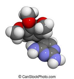 chemische , trimethoprim, droge, antibiotikum, structure.
