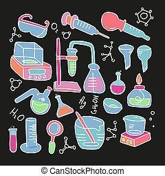 chemische , vektor, labor, kind, laboratorium, schwarz, gekritzel, hand, heiligenbilder, satz, dekorativ, backgrouns., versuch, farbe, gezeichnet, stil, freigestellt, chemieausrüstung, abbildung, wissenschaftlich