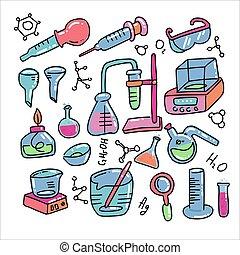 chemische , vektor, wissenschaftlich, style., labor, illustration., laboratorium, gekritzel, hand, heiligenbilder, satz, dekorativ, versuch, farbe, gezeichnet, wissenschaft, freigestellt, chemieausrüstung, kind