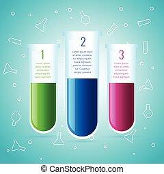 chemische , versuch, design, labor, infographic