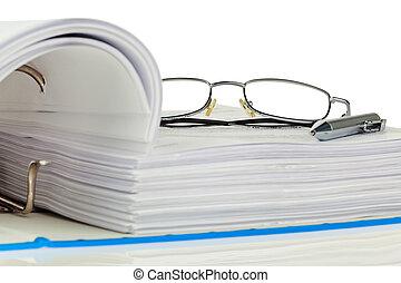 chemise, à, documents, et, documents