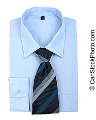 chemise bleue, cravate, isolé, nouveau, blanc
