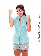 chemise bleue, haut, bras, dame, heureux