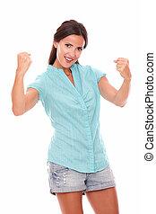 chemise bleue, haut, bras, hispanique, joli, dame