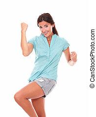 chemise bleue, haut, jeune, hispanique, dame, bras