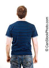 chemise bleue, jeune, fond, polo, blanc, homme