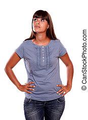 chemise bleue, jeune, haut, regarder, femme, charmer