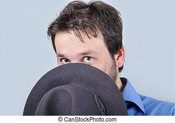 chemise bleue, jeune, séduisant, chapeau, homme