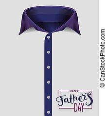 chemise bleue, pères, mens, collar., jour, heureux
