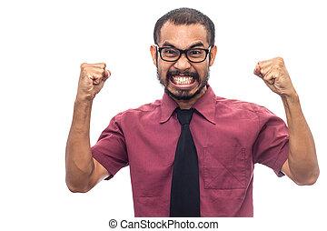 chemise, business, fâché, exprès, figure, asiatique, rouges, homme