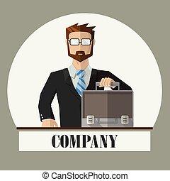 chemise, classique, complet, homme affaires, valise, cravate, ouvert, vide, lunettes