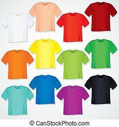 chemise, coloré, collection., t, gabarit, vide
