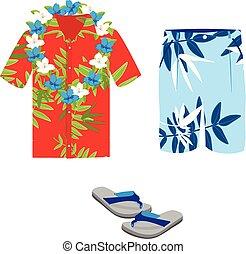 chemise hawaïenne, chiquenaude, short, collier, flops., été...