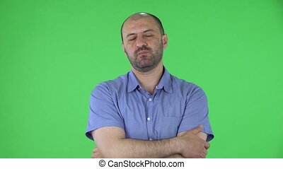 chemise, mâle, fin, vert, concentration, désordre, milieu, écran, regarder, non, bleu, pensée, appareil photo, chauve, barbe, portrait, idea., poser, hommes, haut., vieilli, alors, studio.