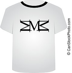 chemise, m, t, lettre, capital, template-