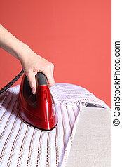 chemise, main, fer, rouges