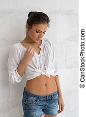 chemise, mur, mince, poser, sexy, studio, girl