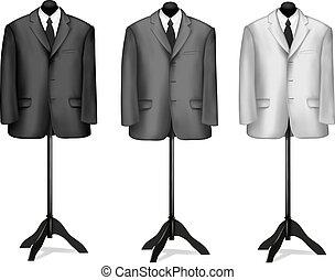 chemise noire, complet, blanc